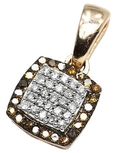 Jewelry Unlimited 10k,Rose,Gold,Ladies,Red,White,Diamond,Square,Fashion,Pendant,Charm,Necklace