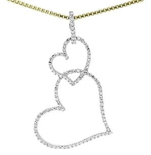 Jewelry Unlimited 10k,Yellow,Gold,Ladies,Round,Diamond,1,Dual,Hanging,Heart,Pendant,Charm,0.25ct
