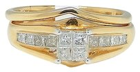 Jewelry Unlimited Ladies,14k,Yellow,Gold,Princess,Cut,Diamond,Bridal,Wedding,Engagement,Ring,12ct