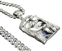 Jewelry Unlimited Real,Diamond,Jesus,Face,Piece,Pendant,Charm,In,Sterling,Silver,With,Beaded,Chain