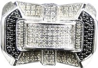 Jewelry Unlimited Mens,White,Gold,Finish,Round,Cut,Blackwhite,Diamond,Pave,Designer,Band,Ring,.75