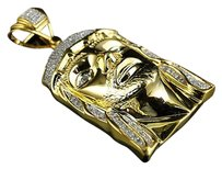 Jewelry Unlimited Yellow,Gold,Finish,1.7,Inch,Diamond,Jesus,Face,Piece,Head,Pendant,Charm,0.25,Ct