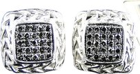 Jewelry Unlimited Mens,Ladies,10k,White,Gold,Black,Diamond,Square,Pave,Shape,Stud,Earrings,0.55,Ct