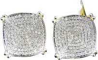 Jewelry Unlimited Mens,Ladies,10k,Yellow,Gold,Round,Prong,15,Mm,Diamond,Pave,Stud,Earrings,1.40,Ct