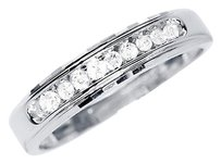Jewelry Unlimited 10k,White,Gold,Mens,5mm,Round,Diamond,Channel,Set,Wedding,Band,Ring,0.25ct