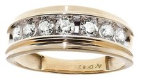 Jewelry Unlimited 10k,Yellow,Gold,Mens,Genuine,Round,One,Row,Diamond,6mm,Wedding,Band,Ring,0.75,Ct