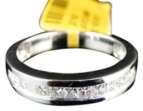 Jewelry Unlimited Solid,14k,White,Gold,Mens,Princess,Si,Diamond,Invisible,Wedding,Band,Ring,1,Ct