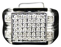 Jewelry Unlimited 10k,Mens,White,Gold,Round,Diamond,Pinky,Fashion,Wedding,Band,Ring,12,Ct