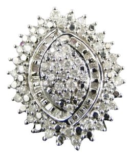 Jewelry Unlimited Ladies,Xxl,1.0ct,White,Gold,Finish,Round,Diamond,Cluster,Engagement,Fashion,Ring