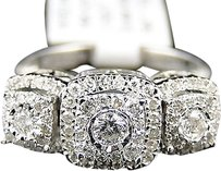 Jewelry Unlimited 14k,Ladies,Womens,White,Gold,3,Stone,Cluster,Round,Cut,Diamond,Ring,12,Ct