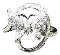 Jewelry Unlimited Ladies,White,Gold,Finish,Swirl,Diamond,Fashion,Butterfly,Fashion,Ring,12,Ct