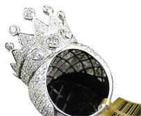 Jewelry Unlimited Mens,White,Gold,Round,Cut,Xl,Crown,Diamond,Pave,Designer,Ring,9.80,Ct