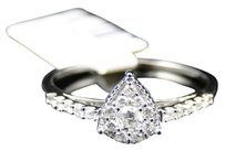 Jewelry Unlimited 10k,White,Gold,Ladies,Round,Diamond,Pear,Shaped,Engagement,Fashion,Ring,14,Ct