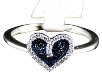 Jewelry Unlimited 10k,Ladies,White,Gold,Blue,And,White,Heart,Diamond,Fashion,Engagement,Band,Ring