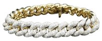 Jewelry Unlimited Solid,Yellow,Gold,Miami,Cuban,Genuine,12,Mm,Diamond,Bracelet,Bangle,12.5,Ct