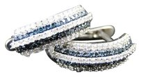 Jewelry Unlimited 10k,White,Gold,Blue,And,White,Diamond,Hoops,Huggie,Earrings,12,Ct,15mm
