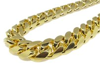 Jewelry Unlimited 14k Yellow Gold Finish Solid Franco Miami Cuban Necklace Sterling Silver Mm
