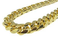 14k Yellow Gold Finish Solid Franco Miami Cuban Necklace Sterling Silver Mm
