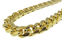 Other 14k Yellow Gold Finish Solid Franco Miami Cuban Necklace Sterling Silver Mm