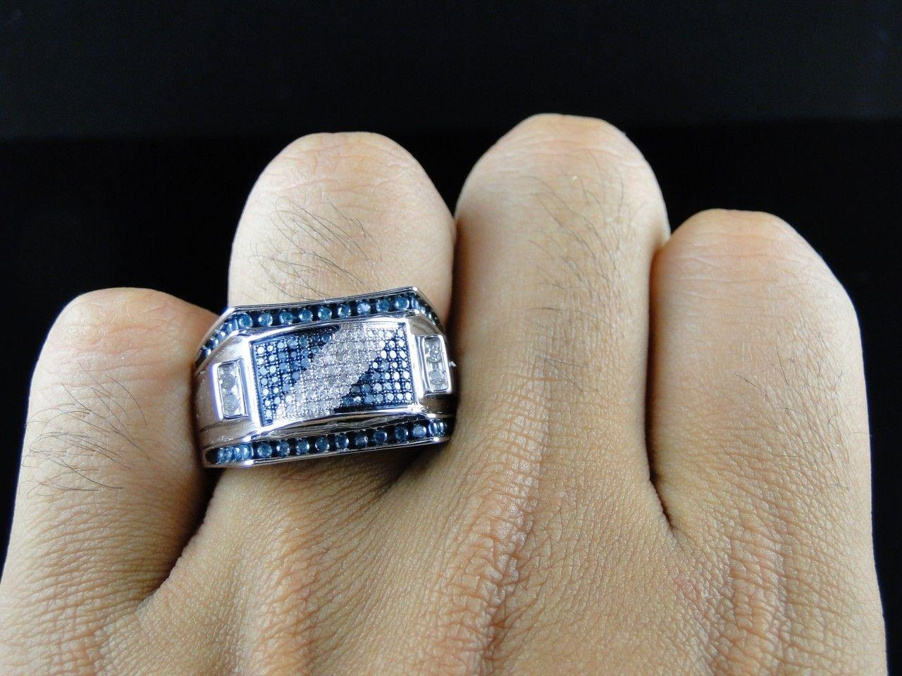 Jewelry Unlimited Mens White Gold Finish Blue and White Diamond