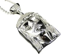 Jewelry Unlimited Mens,.925,Silver,Real,Diamond,Jesus,Face,Piece,Pendant,Chain,0.25,Ct,1.75,Inch