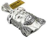 Jewelry Unlimited White,Gold,Finish,Mens,Black,Diamond,Jesus,2.0,Inch,Satin,Pendant,Charm,4.97,Ct