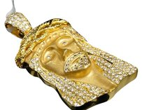 Jewelry Unlimited 10k,Yellow,Gold,Mens,Real,Clear,Diamond,Jesus,Matte,Satin,Pendant,Charm,5.36,Ct