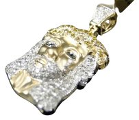 Jewelry Unlimited 10k,Yellow,Gold,Mens,Or,Ladies,Canary,Mini,Diamond,Jesus,Satin,Pendant,Charm,1ct