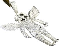 Jewelry Unlimited 10k,White,Gold,Mens,White,Mini,Diamond,Jesus,Angel,Piece,Pendant,Charm,1.25,Ct