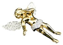 Jewelry Unlimited 10k,Yellow,Gold,Mens,Ladies,Mini,Diamond,Jesus,Angel,Cherub,Pendant,Charm,1.2,Ct