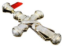 Jewelry Unlimited. ,Mens,Yellow,Gold,Finish,Pave,Diamond,Cross,Pendant,Charm,3.25,Inch,1.5,Ct
