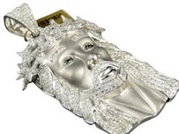 Jewelry Unlimited 10k,White,Gold,Mens,Real,Diamond,Jesus,Matte,Satin,Pendant,Charm,11.35,Ct