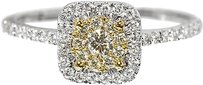 Jewelry Unlimited 14k,Two,Tone,Ladies,Yellow,Diamond,Solitaire,Look,Halo,Engagement,Wedding,Ring