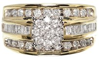 Jewelry Unlimited 10k,Yellow,Gold,Ladies,3,Row,Cluster,Diamond,Solitaire,Engagement,Wedding,Ring