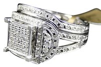 Jewelry Unlimited Ladies,10k,White,Gold,Square,Round,Cut,Pave,Diamond,Engagement,Bridal,Ring,Set