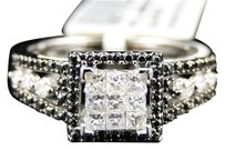 Jewelry Unlimited 14k,Womens,White,Gold,Black,White,Diamond,Engagement,Wedding,Promise,Ring,.55,Ct