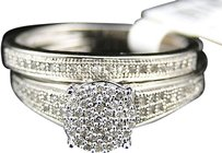 Jewelry Unlimited 10k,White,Gold,Ladies,Pave,Diamond,Bridal,Wedding,Engagement,Band,Ring,Duo,Set