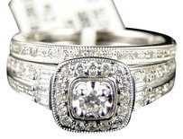 Jewelry Unlimited 14k,White,Gold,Ladies,Round,Diamond,Engagement,Wedding,Bridal,Ring,Set,12,Ct