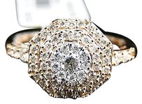Jewelry Unlimited 14k,Womens,Rose,Gold,Cluster,Round,Diamond,Halo,Engagement,Fashion,Ring,.58,Ct