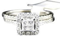 Jewelry Unlimited Ladies,14k,White,Gold,Princess,Cut,Diamond,Engagement,Wedding,Bridal,Ring,Set