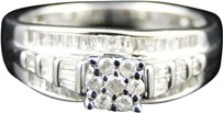 Jewelry Unlimited Ladies,White,Gold,Finish,Round,Diamond,Cluster,Engagement,Wedding,Band,Ring