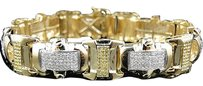 Jewelry Unlimited Mens,Pave,Set,10k,Yellow,Gold,Round,Cut,Genuine,Canary,Diamond,Bracelet,5,Ct