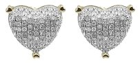 Jewelry Unlimited 10k,Yellow,Gold,Ladies,Round,Diamond,9mm,Puffed,Heart,Studs,Earrings,0.33,Ct