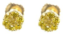 Jewelry Unlimited 10k,Yellow,Gold,Mens,Ladies,Round,Canary,Diamond,Flower,Cluster,Studs,Earrings