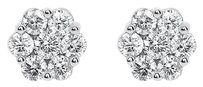 Jewelry Unlimited 14k,White,Gold,Mens,Ladies,Round,Diamond,9mm,Flower,Cluster,Stud,Earrings,1.54ct
