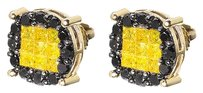Jewelry Unlimited 10k,Yellow,Gold,Unisex,Princess,Canary,Black,Diamond,10mm,Studs,Earrings,1.5,Ct