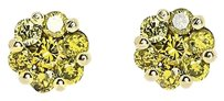 Jewelry Unlimited 10k,Yellow,Gold,Round,Canary,Diamond,Flower,Cluster,7mm,Studs,Earrings,1.25,Ct