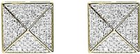Jewelry Unlimited 10k,Yellow,Gold,Mens,Ladies,Pave,Diamond,12mm,Square,Studs,Earrings,0.40ct