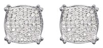 Jewelry Unlimited Mens,Ladies,14k,White,Gold,Round,Diamond,Pave,Concave,10mm,Studs,Earrings,12,Ct