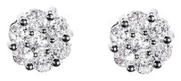 Jewelry Unlimited 14k,White,Gold,Mens,Ladies,Round,Diamond,6mm,Flower,Cluster,Stud,Earrings,0.52ct